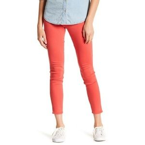 HUDSON Berry Red Stretch Mid Rise Skinny Jeans